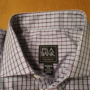 BNWT Jos A Bank 16/34 dress shirt purple check